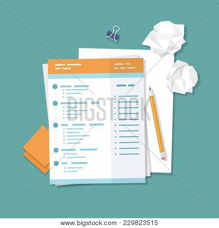 Work With Documents, Filling Forms. Blank, Crumpled Paper, Pencil, Stickers, Binder Clip. Vector Ill