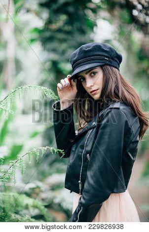 Fashion Portrait Of Young Stylish Woman On Nature Background