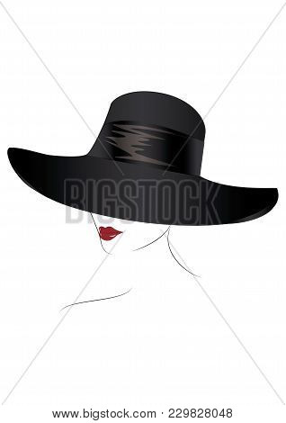 Sketch- Female Face In Black Hat, Red Lips, - Isolated On White Background - Art Creative Vector Ill