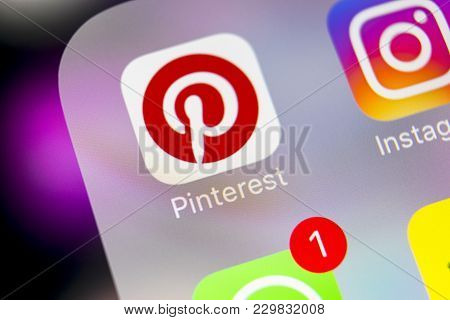 Sankt-petersburg, Russia, March 6, 2018: Pinterest Application Icon On Apple Iphone 8 Smartphone Scr