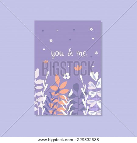 Romantic Greeting Card With The Inscription You And Me, Trendy Postcard For Valentines Day, Annivers