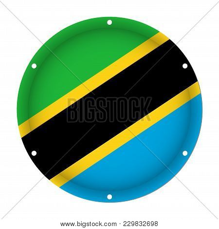Round Metallic Flag Of Tanzania With Six Screw Holes In Front Of A White Background