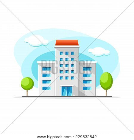 Flat Vector Modern House Building Colorful Illustration. City House, Apartment, Residential Object O