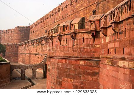 Close-up View Of Walls Of Agra Red Fort, Unesco World Heritage Site, Built By Several Mughal Emperor