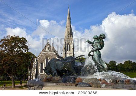 Saint Alban's Church & Gefion Fountain, Copenhagen