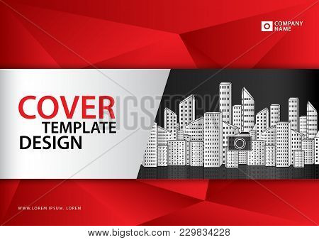 Red Cover Template Vector, Brochure Flyer, Annual Report, Book, Advertisement, Printing Media, Polyg