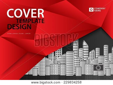 Red Cover Template For Business Industry, Real Estate, Building, Home, Machinery. Horizontal Layout,