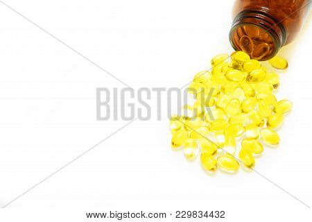 Fish Oil, Soft Capsule, Omega, Supplement And Bottle Isolated On White Background,healthy Product Co