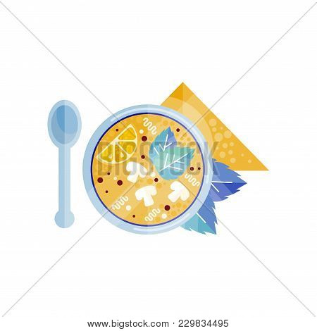 Bowl Of Fresh Soup With Mushrooms Vector Illustration Isolated On A White Background.