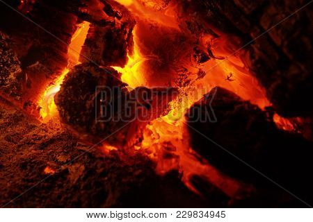 The Firing Charcoal In Red Orange Color, Close-up View  And Very High Temperature