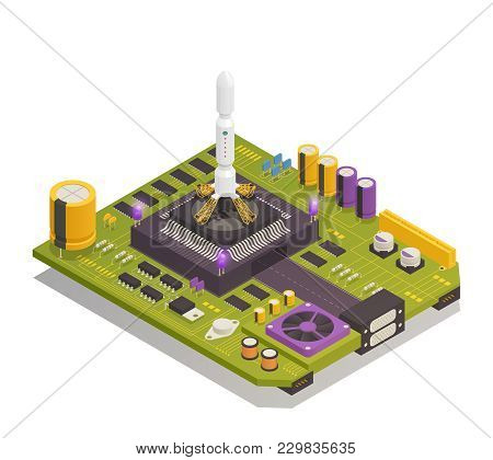Semiconductor Electronic Components Assembled On Printed Circuit Board As Space Rocket Launching Com