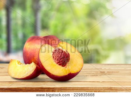 Fresh Sweet Peach Peaches Green Red Yellow