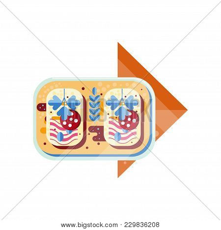 Sandwich, Bread With Sausage And Ham Vector Illustration Isolated On A White Background.