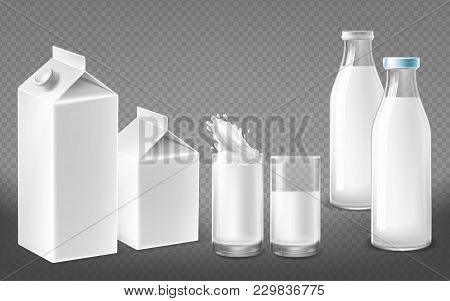 Vector Realistic White Containers For Dairy Natural Products, Milk Bottles With Lids, Filled Glasses