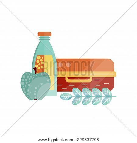 Lunch Bag With Apple And Bottle Of Juice, Healthy Food For Kids And Students, Children Lunch Time Ve