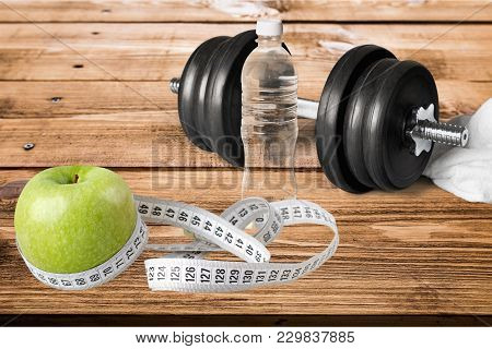 Tape Dumbbells Sport Objects Background Nobody Close-up