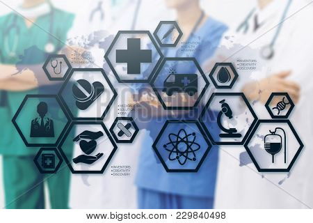 Medical Healthcare Concept - Doctors In Hospital With Medical Icons Modern Interface Showing Symbol