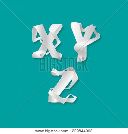 Vector Decorative 3d Alphabet Isolated Set Of Uppercase Letters. White Elegant Letter X, Y, Z. Font