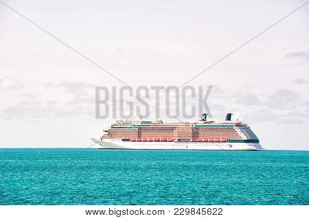 Great Stirrup Cay, Bahamas - January 08, 2016: Cruise Ship In Blue Sea On White Sky. Water Transport