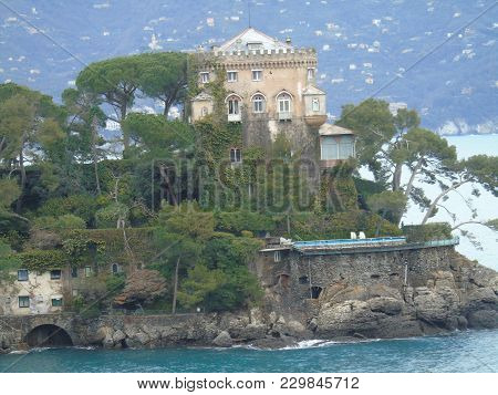 Beautiful Caption Of The Sea From Portofino In An Amazing Winter Day With Some Colored Houses And So