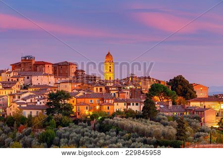 Old Medieval District In The City Siena On The Sunset. Tuscany. Italy.