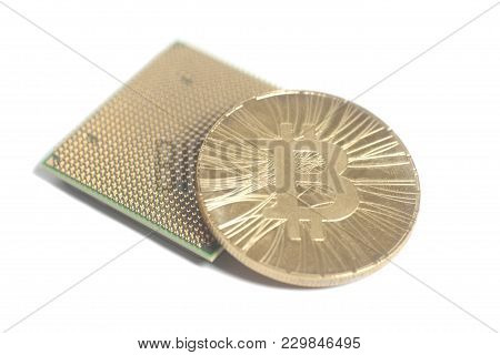 Central Processing Unit Cpu Microchip With Golden Bitcoin On White