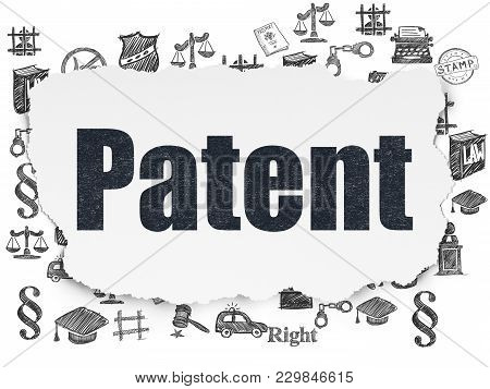 Law Concept: Painted Black Text Patent On Torn Paper Background With  Hand Drawn Law Icons