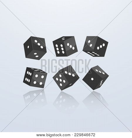 Dice Of Black Color In Different Perspective On A Light Background. 3d, Vector Illustration