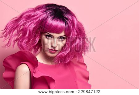 Fashion Art Studio Portrait Glamour Beautiful Lady. Party Fashionable Hairstyle. Woman In Pink Summe