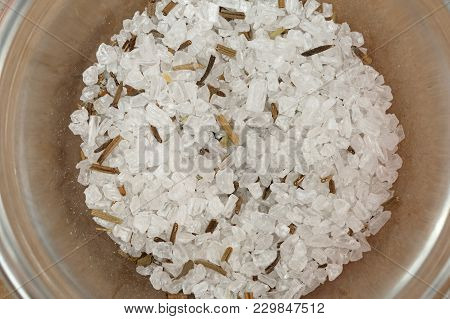 Coarse Sea Salt With Herbs In Bowl