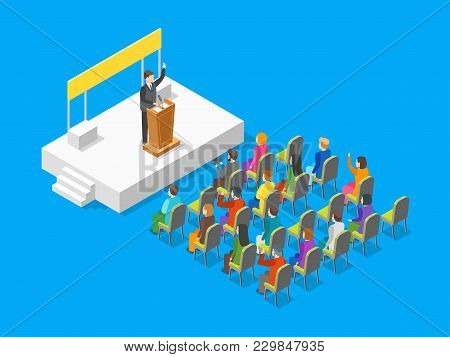 Politician Business Concept 3d Isometric View Businessman Speaking At Tribune Speaker Or Leader Pres