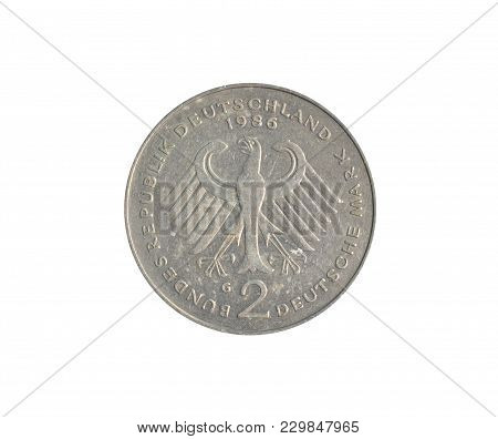 Vintage Two Deutsche Marks Coin Made By Germany