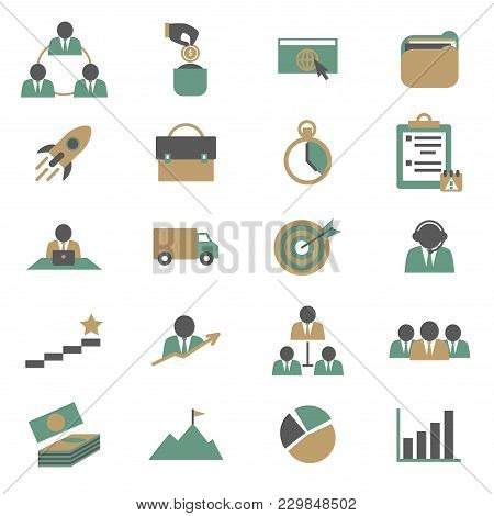 Cartoon Color Project Management Icons Set Teamwork Concept Flat Design Style Include Of People, Pro