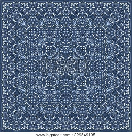 Elegant Square Light Blue Abstract Pattern. Can Be Used To Design Pillows, Scarves, Neckerchief, Ban