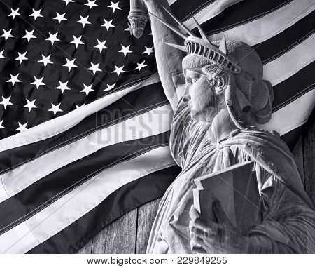 Lady Liberty And American Flag In Black And White.