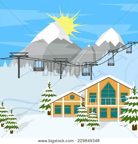 Cartoon Winter Skiing Resort Background Card Sport Vacation Concept Flat Design Style. Vector Illust