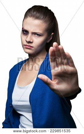 Woman Violence Victim Domestic Violence Beautiful Closeup Sign