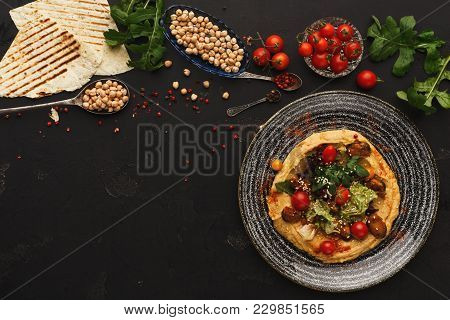 Chickpea Hummus With Mussels And Vegetables In Stylish Bowl. Healthy Traditional Vegetarian Beans Pa