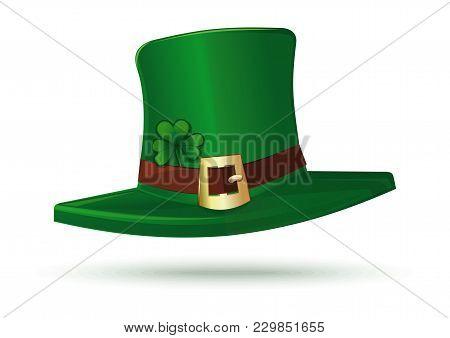 Cartoon Leprechaun Hat Isolated On White Background. Leprechaun Hat Icon. Green Leprechaun Hat With