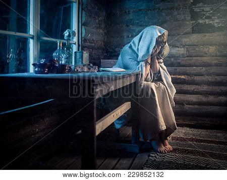 Woman Mourning Or Being Depressed About Something