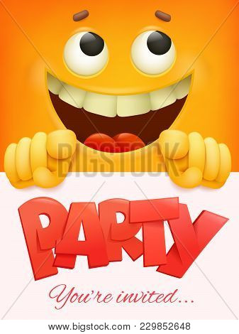 Party Card Template With Yellow Smiley Face Emoticon Background. Vector Illustration