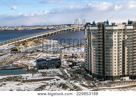 Saint-petersburg.russia.16 April 2017.views Of Buildings On Vasilievsky Island And Ring Highway In S