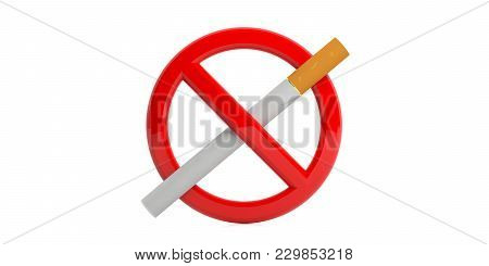 No Smoking Sign Isolated On White Background. 3D Illustration
