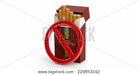No Smoking Sign And Brand Name Cigarette Packet Isolated On White Background. 3D Illustration