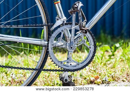 Chainring And Chain With Front Derailleur, Crank And Pedals On Vintage Racing Bicycle With Crome Fra