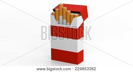Smoking, Cigarettes Austria. Austria Flag On A Cigarette Pack Isolated On White Background. 3D Illus