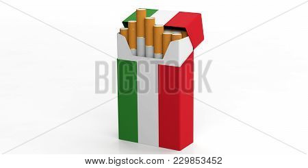 Smoking, Cigarettes Italy. Italian Flag On A Cigarette Pack Isolated On White Background. 3D Illustr