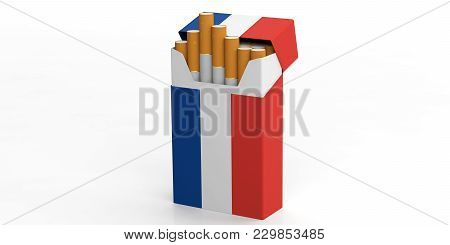 Smoking, Cigarettes France. French Flag On A Cigarette Pack Isolated On White Background. 3D Illustr