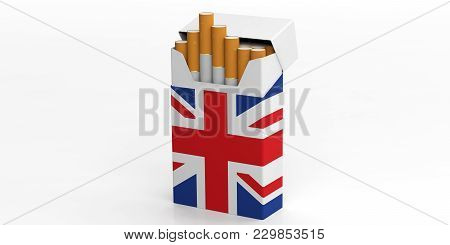 Smoking, Cigarettes Uk. United Kingdom Flag On A Cigarette Pack Isolated On White Background. 3D Ill