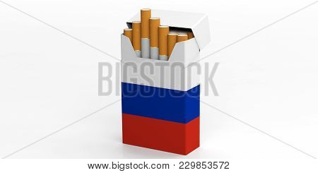 Smoking, Cigarettes Russia. Russian Flag On A Cigarette Pack Isolated On White Background. 3D Illust